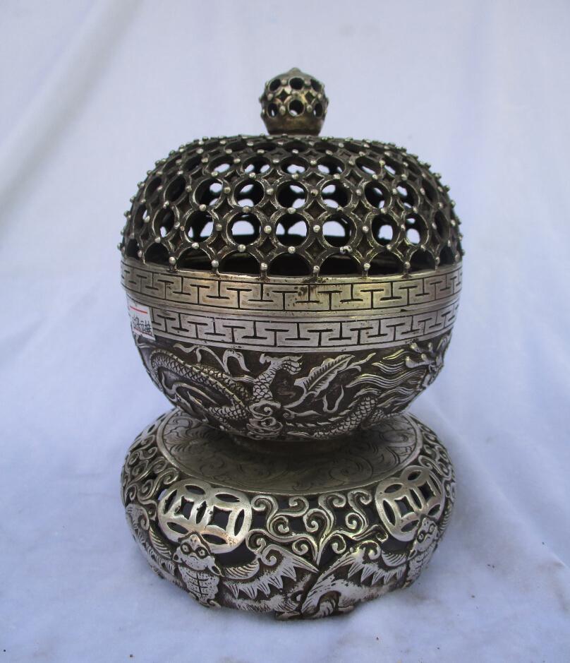 Rare old antique tibet silver carved cage incense burner /metal censer free shipping 00041