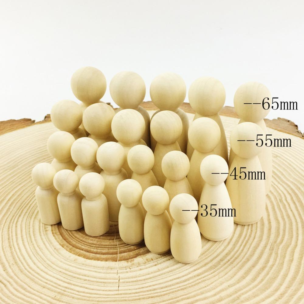 ربط الخشب دمية مجموعة من 40 قطعة الخشب الأسرة دمية اللعب (43 ملليمتر / 55 ملليمتر) مكتمل غير مصبوغ حفلات الزفاف كعكة دمية حديقة غرفة ديكور اليدوية