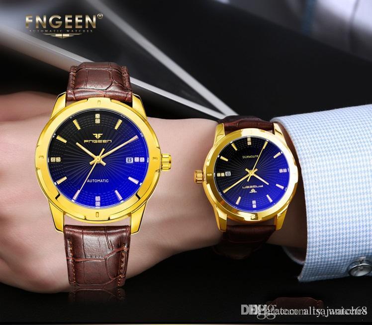 Hot Man Date Brand New Drop Shipping Mechanical cheap Real Brown Leather Fashion Movement Watch night light Business Men Watch