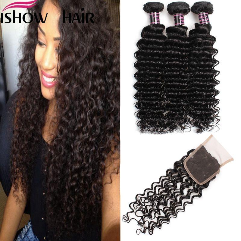 Envío gratis Good Brasilian Indian Malaysian Virgin Hair Onda profunda 3pcs con cierre de encaje Extensión de cabello sin procesar para mujeres negras