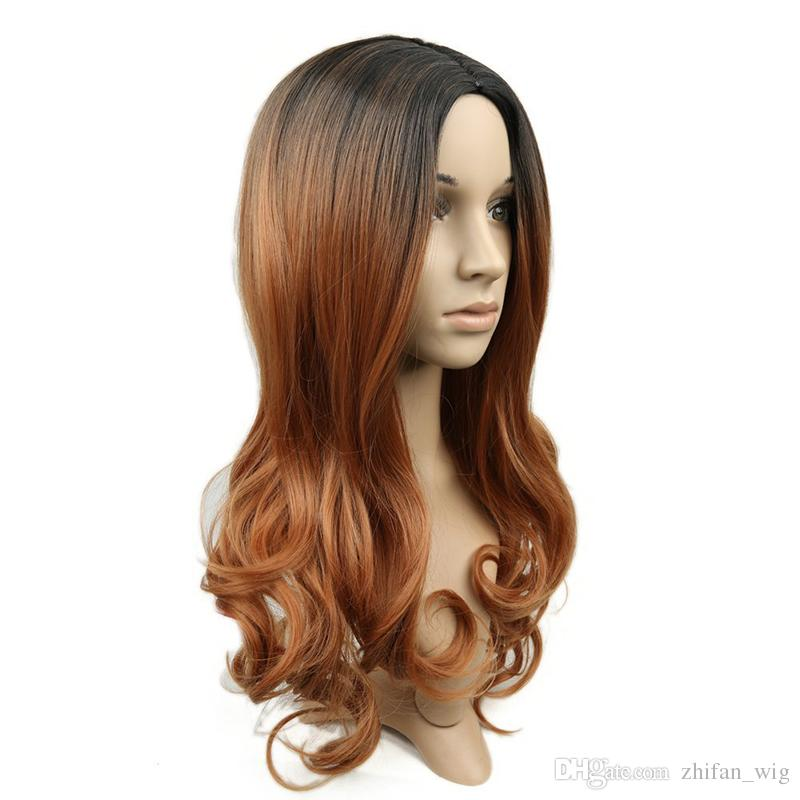 Z&F Curly Black Brown Ombre Blonde Color Synthetic Wigs Body Wave Medium Long Style Hair For White Black Women
