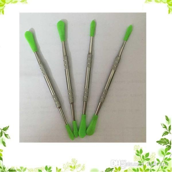 Outil de cire en acier inoxydable moins cher 121mm embout en silicone dabber outil dabbing autocollant pour stylo vape