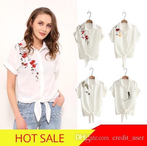 Üst Yaz Kadın Rahat Üstleri Kısa Kollu Nakış Beyaz Üst Bluz Gömlek Seksi Kimono Gevşek Plaj Gömlek Blusas Feminina