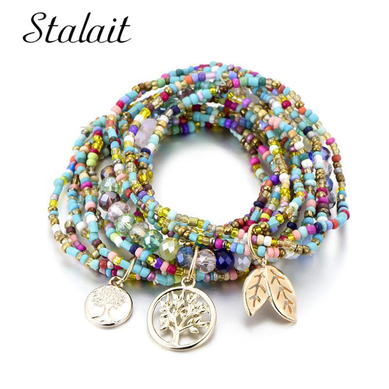 Böhmischen Stil Leben des Baumes lassen Charme Perlen Armbänder für Frauen Boho Multilayer Kristall Seed Bead Armband Schmuck Party Geschenk