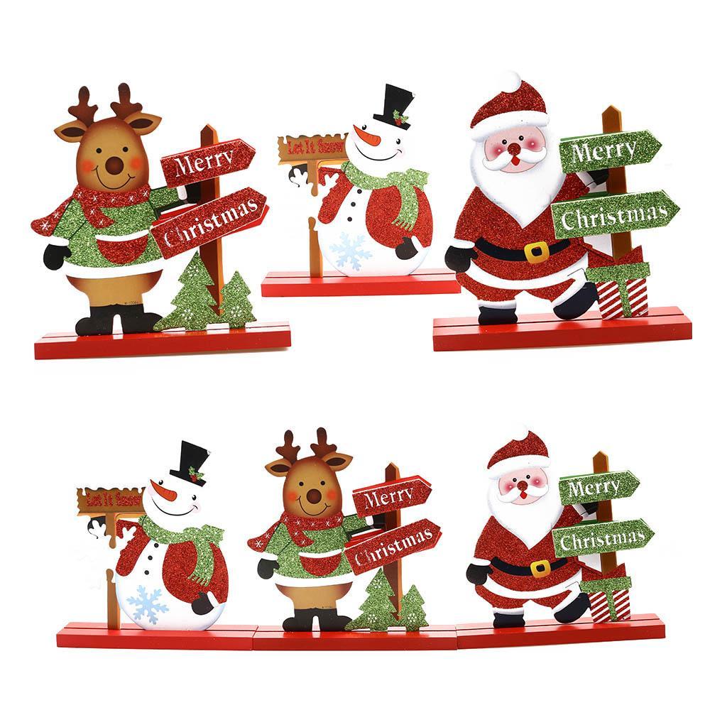 Snowman Home Adornments Wooden Craft Christmas Decorations Desktop Ornaments
