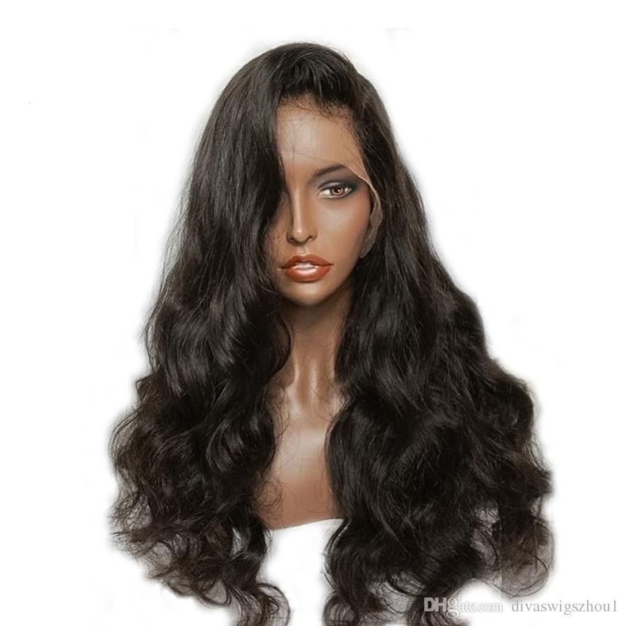 360 Lace Frontal Wigs 180% Density Water Body Wave Human Hair Wigs with Baby Hair for Black Women Natural Color 14 inch