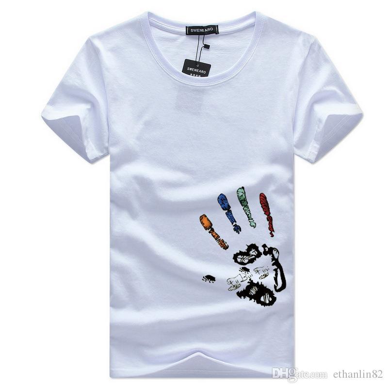 Мужские сборы Футболка Топы хлопка Летняя футболка Palm Короткие рукава Случайные 2018 Мужские Tee Tee Thirts Мужчины Мужчины Бог Лакве