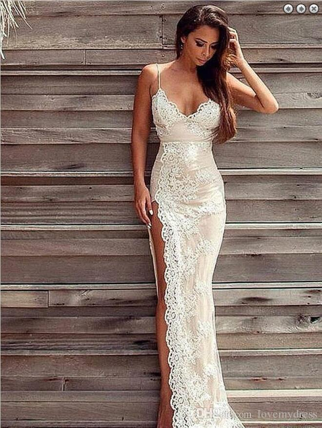 Sexy High Slit Lace Wedding Dresses With Spaghetti Straps White Lace Applique Champagne Satin Sheath Beach Backless bridal Gown Cheap