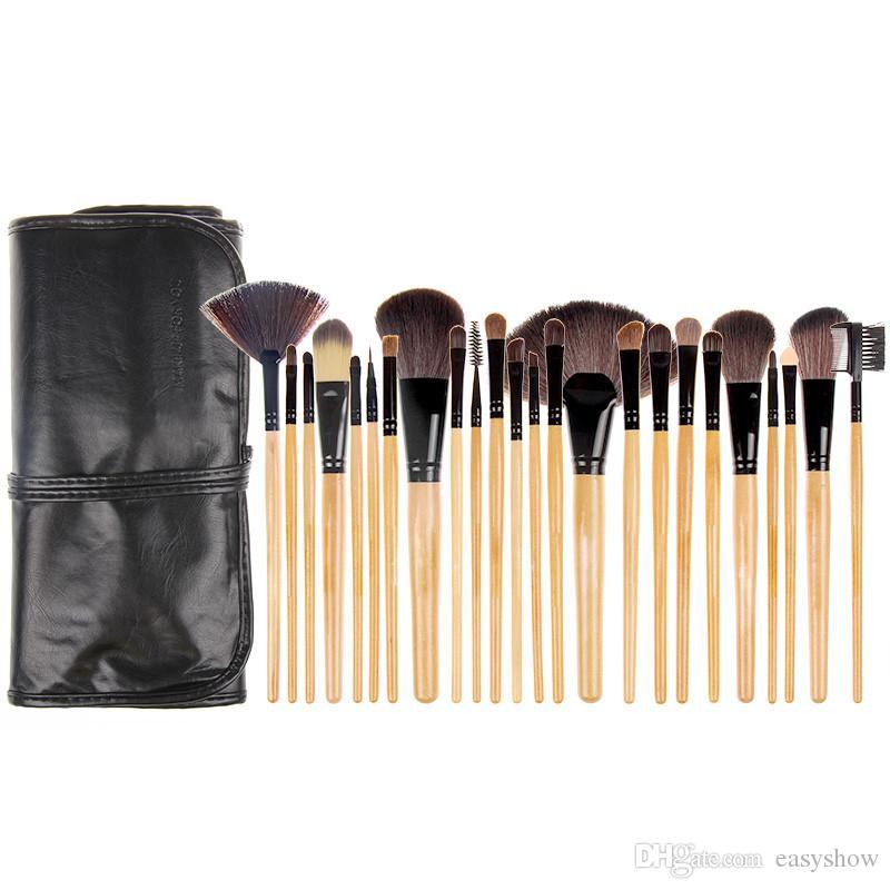 Commercio all'ingrosso! TOP Professional Legno Rosa Nero 24 PZ Set di pennelli trucco Make-up di articoli da toilette Set di pennelli per make-up di marca in lana Free DHL
