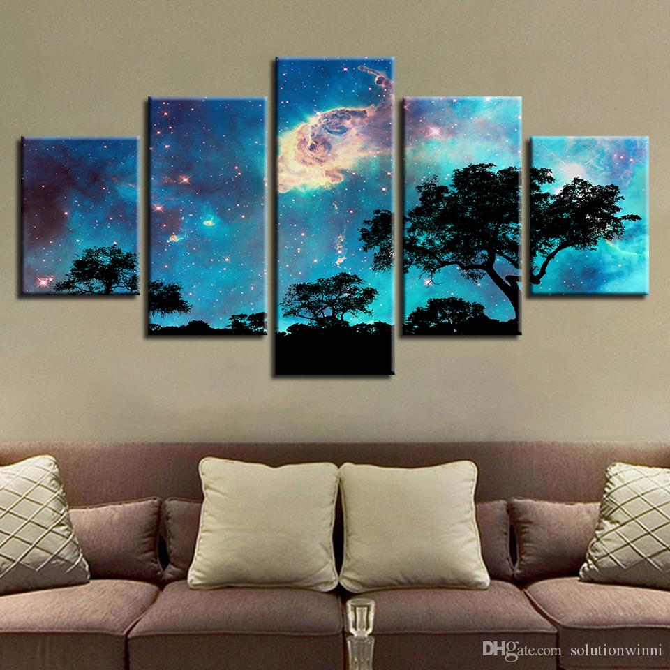 Спальня Декор стен плакат фотографии 5 шт. HD печатных дерево абстрактные звездное небо ночь холст Живопись модульная структура искусства