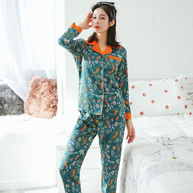 New Arrival Silk Women Sexy Pajama Set Long SleeveTop + Pant 2 Pcs Set  Female Pijama Sleepwear Homewear Suit Silk Nightwear 78be01465