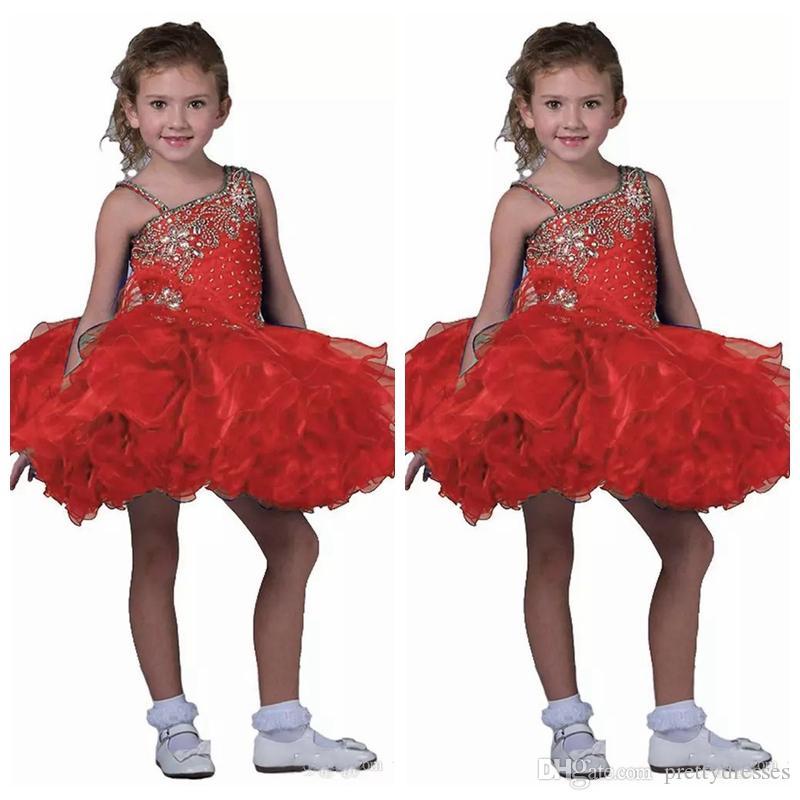 2019 Spaghetti Kids Short Skirts Toddler Mini Girl's Pageant Dress Girls Straps Pageant Cupcake Dresses Kids Formal Occasion Cute Tutu
