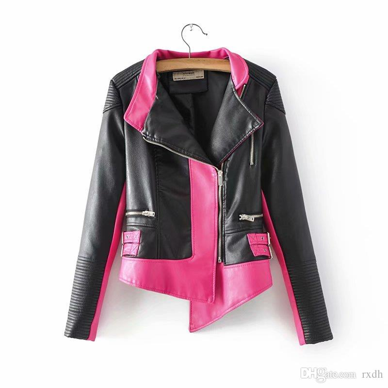 latest sale hot-selling genuine soft and light 2019 2018 New Women Peach Pink Moto Biker Faux Leather PU Jackets For  Juniors Girl Fashion Burgundy Outwear Ladies Zipper Coats Wholesale Size XL  From ...