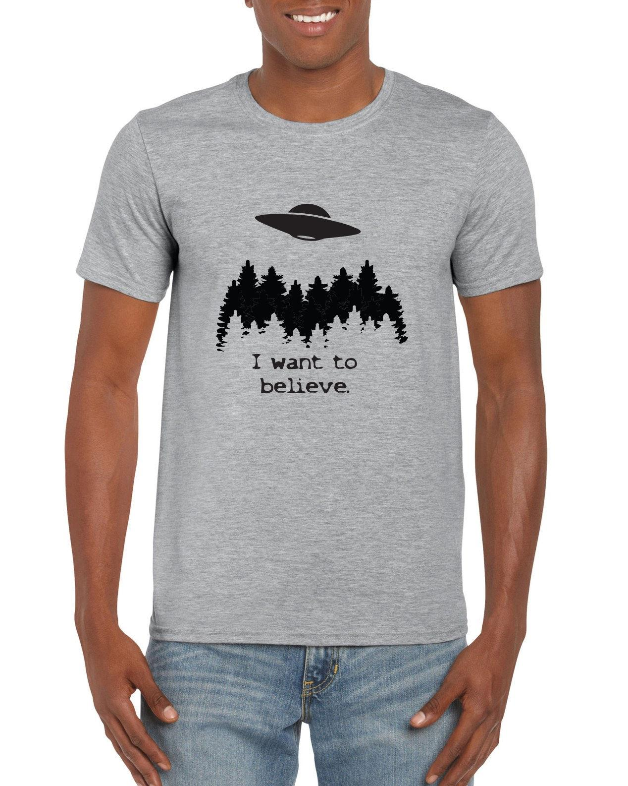 I Want To Believe in UFO/'s T-Shirt-Funny Humorous Novelty Shirt Tee Shirt