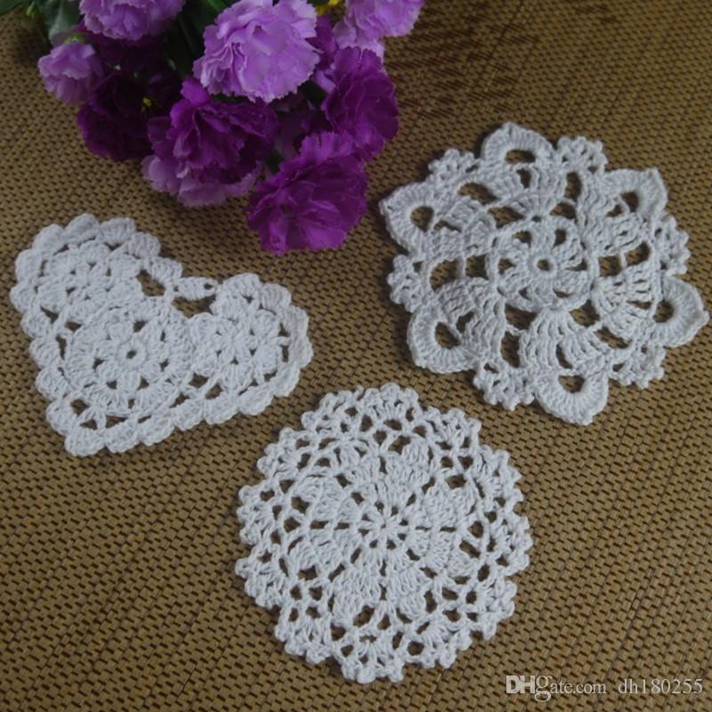 Wholesale 3 Design Crochet Doily Coaster round hand White cup mat Pad Applique Pink White Ecru 10-12CM 30pcs/LOT