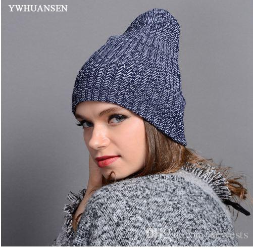 Ywhuansen شعبية الخريف الشتاء للجنسين بيني القبعات مخطط الحياكة أغطية الرأس للرجال skullies الدافئة الإناث الكروشيه سيدات