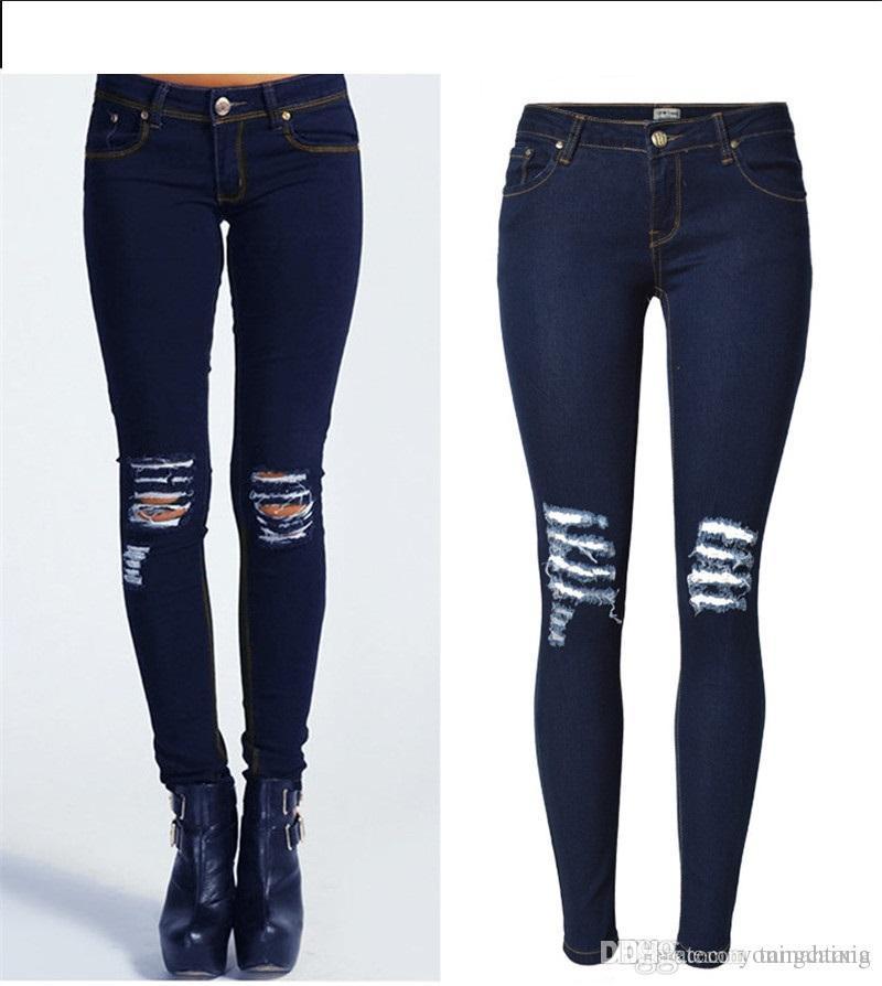 Atacado Frete Grátis Moda Feminina Denim Skinny Rasgado Calças de Cintura Alta Stretch Jeans Calças Finas de Lápis