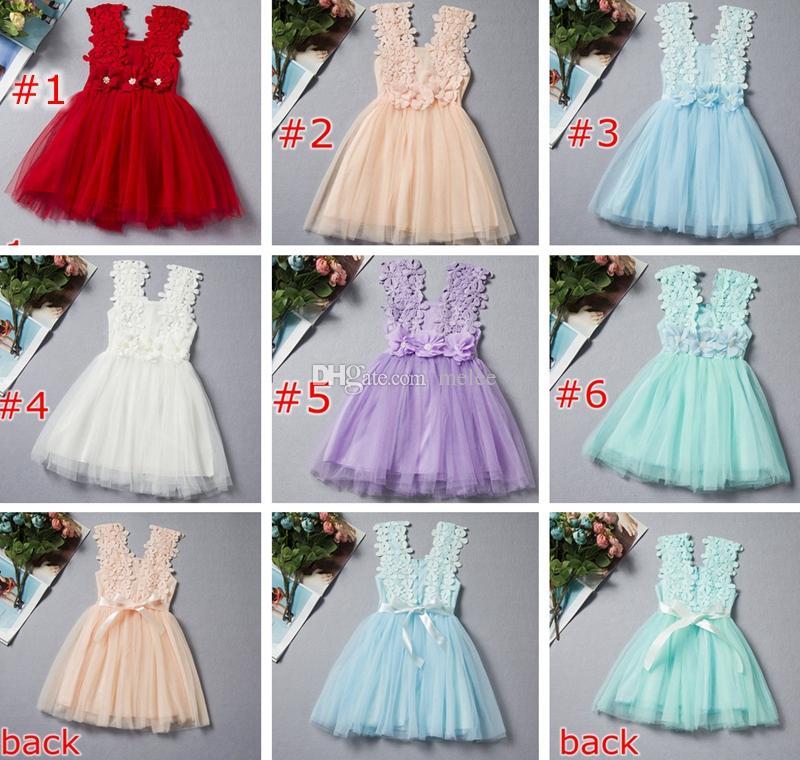 Menor Preço de verão meninas vestido de renda meninas Lace Crochet Colete Vestido de verão Princesa Meninas sem mangas colete de crochê Vestido de renda 6 cores escolher