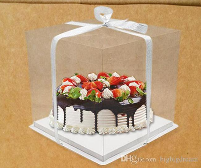 Marvelous Wedidng Cake Box Clear Pet Transparent 4 6 8 10 Inch Bakery Boxes Funny Birthday Cards Online Inifofree Goldxyz