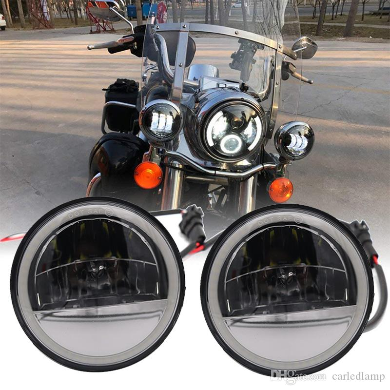 """4.5 """"yol kral yuvarlak lambalar geçen 4.5 inç motosiklet led sis farları DRL halo halka ile yardımcı lamba meclisi"""