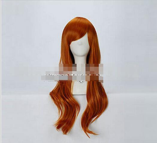 Free shipping+++Orange Long Wavy Fashion Style Women Lady Girl Anime Cosplay Hair Wig queen Kanekalon hair lace front wigs