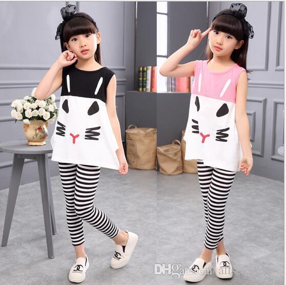 Girls Clothes 2017 새로운 민소매 아기 소녀 의류 세트 패턴 고양이 소녀 의류 아동 의류 아동 의류 세트