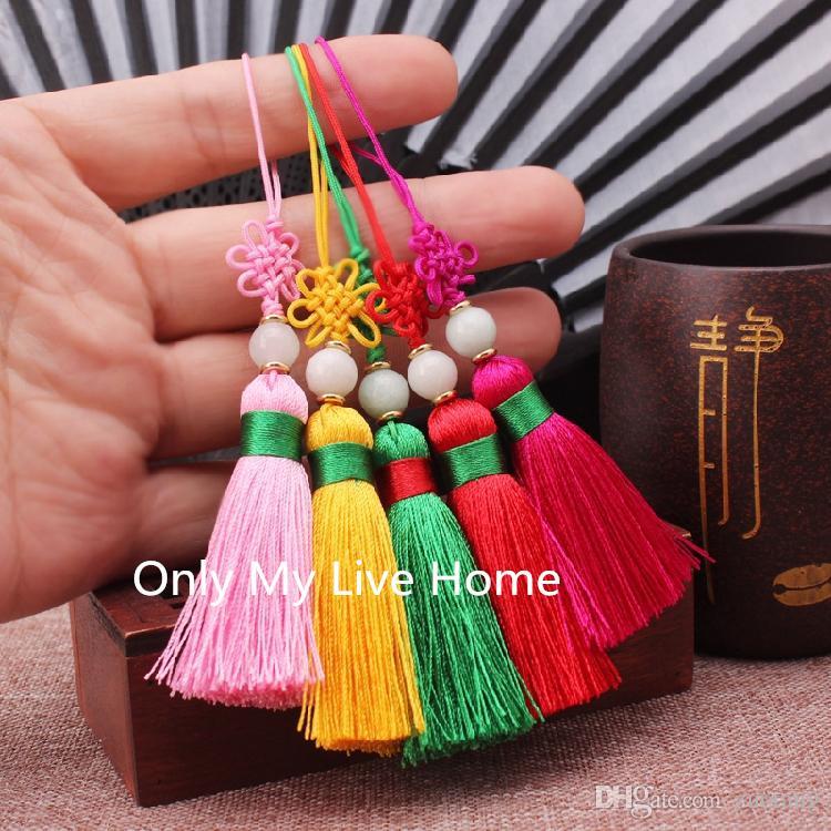 Nettes kurzes kleines Quasten-Handfan-Zusatz-Handwerks-faltendes Fan-Charme-Anhänger-DIY Bookmark-Telefon, das dekoratives 2pcs / lot hängt