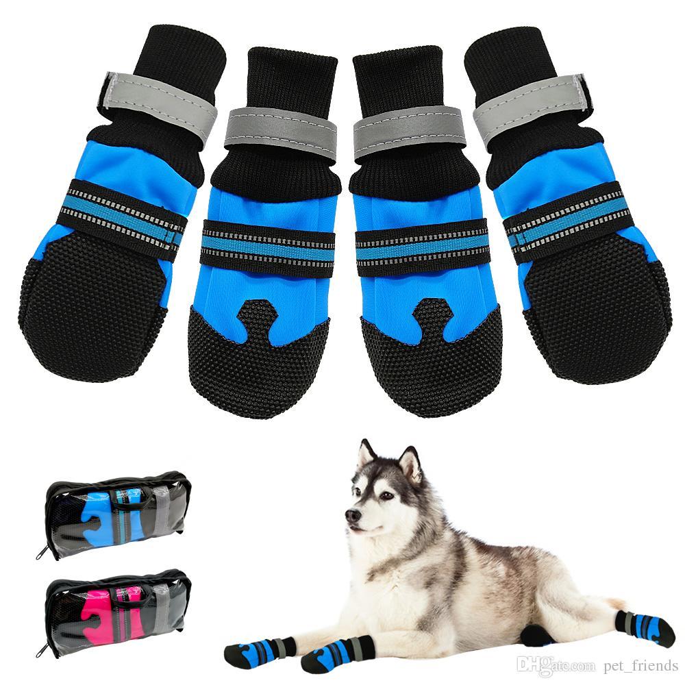4 unids / set a prueba de agua de invierno zapatos del perro del animal doméstico antideslizante nieve botas para mascotas Paw Protector cálido reflectante para perros grandes medianos Labrador Husky