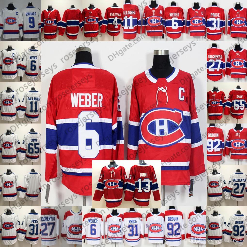 2019 homens Montreal Canadiens Jersey # 6 Shea Weber 11 Brendan Gallagher 31 Carey Preço 92 Jonathan Drouin 13 Max Domi 65 Andrew Shaw