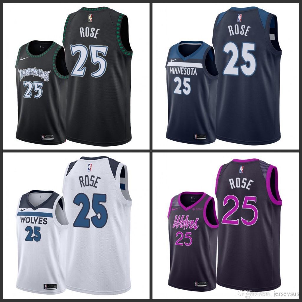 hot sale online 73a3f 68f23 2018 Men'S Timberwolves 25 Derrick Rose Swingman Icon ...