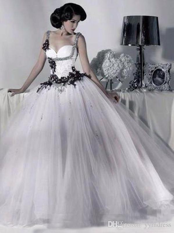 White and Black Tulle Wedding Dresses Beaded Spaghetti Strap Gothic Ball Gown Corset Halloween Bridal Party Gowns 2019 Vestidos Long Vintage