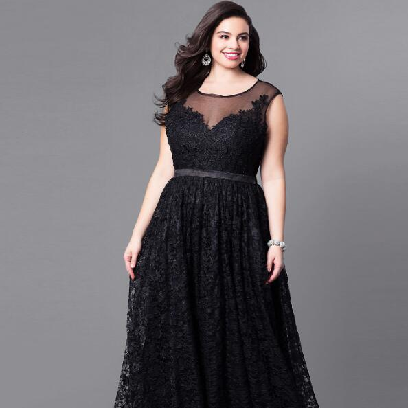 Plus Size Woman Vintage Dress Black Sleeveless Long Evening Gown 2018 Big  Size Hollow Out Maxi Lace Mesh Vestidos Elegant AF626 Plus Size Maxi Dress  ...