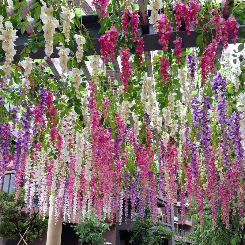 simulação de 110 centímetros flores artificiais Decoração do casamento Garland seda artificial flor Wisteria Vines Rattan partido Home Garden Hotel Decor