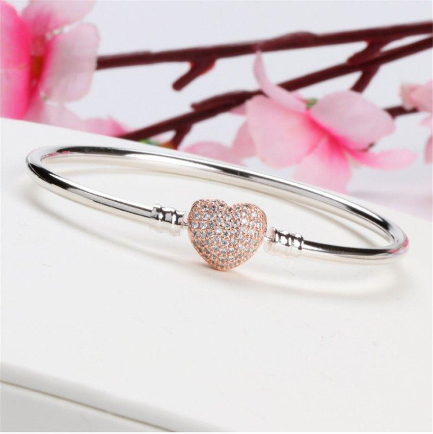 Las mujeres de lujo de plata del brazalete de oro rosa plateado CZ Pave pulsera apta Pandora encantos europeos perlas pulsera pulsera joyería