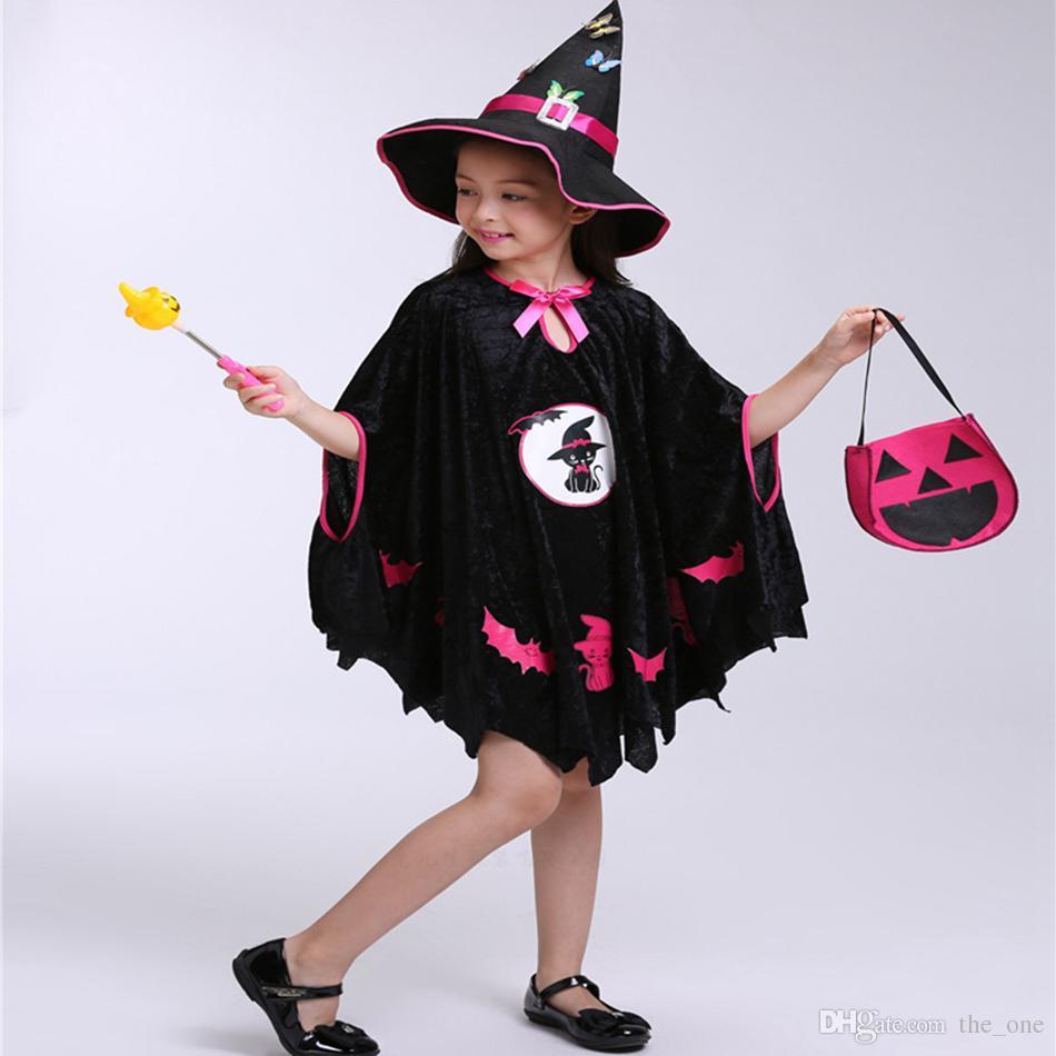 2018 New Fashion Halloween Performance Costume Cap Wizard Witch Hat Party Cosplay Puntelli Chiaro Cappelli per adulti Clacks per bambini