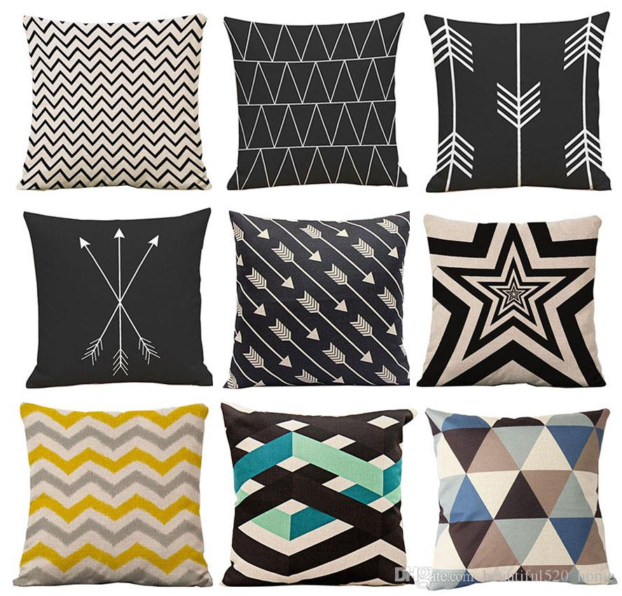 126 Patterns Cushion Cover Wave Decorative Throw Pillows Covers Flax Geometric Pattern Pillows Covers