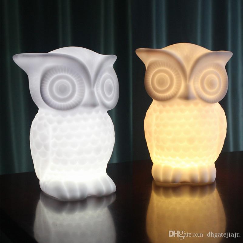 뜨거운 판매 1W LED 야간 조명, 아기 올빼미 모양 따뜻한 흰색 빛 / 흰색 PVC 테이블 램프, 실내 장식 야경 어린이 룸