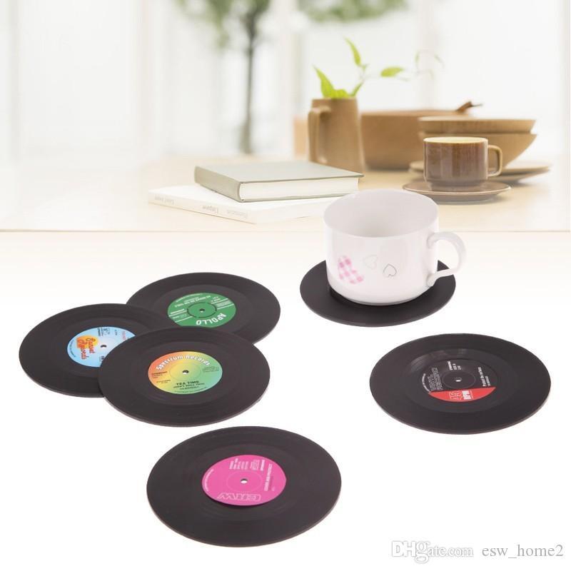 6 قطعة / المجموعة الرئيسية الجدول كأس حصيرة الإبداعية ديكور القهوة شرب تحديد الموقع لجدول الغزل الرجعية الفينيل cd سجل المشروبات الوقايات