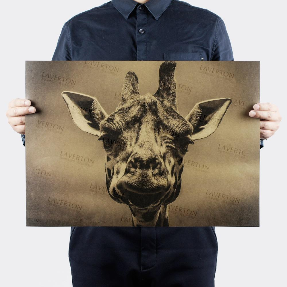 Vintage giraffe animal Retro Poster decorative painting kraft paper paper wall sticker posters cafe bar print picture 51x35.5cm