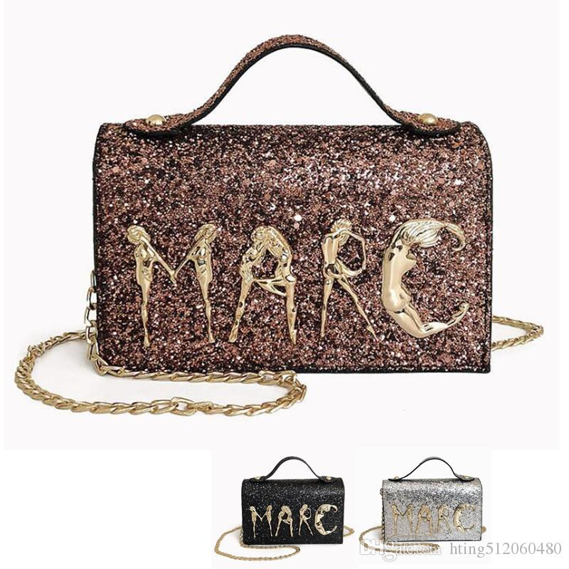 Women Bling Sequins PU Shoulder Bag Fashion Letter Messenger Bags Crossbody Bag Lady Mini Shiny Handbags Evening Party Clutch Bag