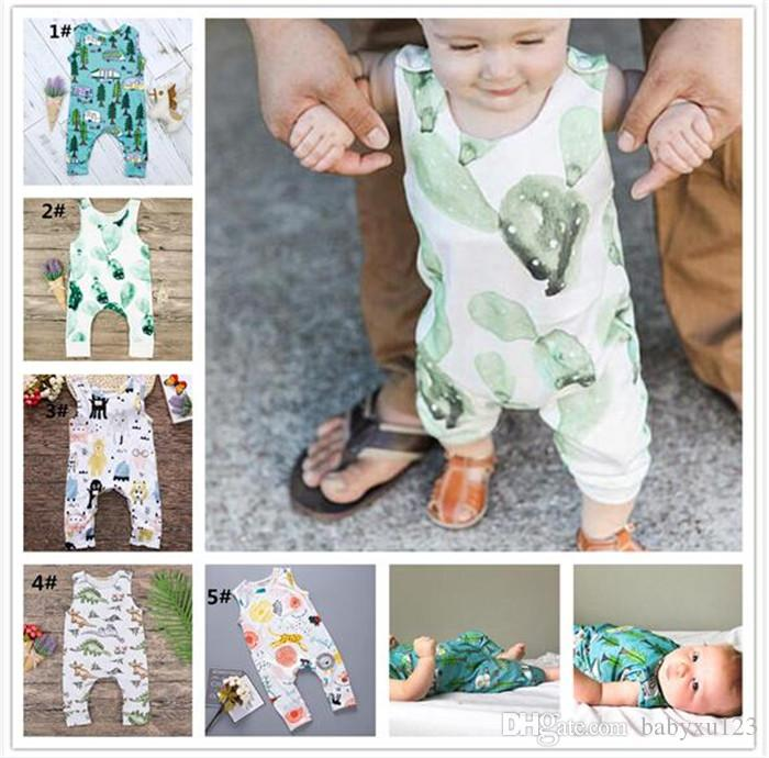 50pcs Rompers Cactus Forest Road Print Sleeveless Rompers Newborn Infant Baby Girls Boys Sleeveless Summer Clothes Jumpsuit Playsuits Y278