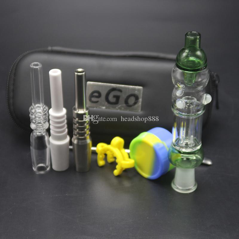 Grace Mini EGO Сумка Стеклянная Фильтр Водопроводные Трубы с 10 мм 14 мм Керамический наконечник Кварцевый Титановый Ногтя DAB Буфет Ложка Стекло Бонг