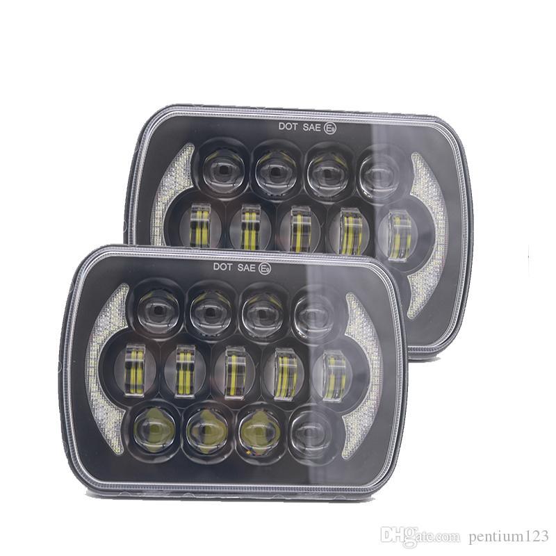 5''x7 '' 6''x7 '' Melek Gözü ile Jeep Wrangler YJ Cherokee XJ H6054 H5054 H6054LL 69822 6052 6053 için Yüksek Düşük Işın Led Farlar