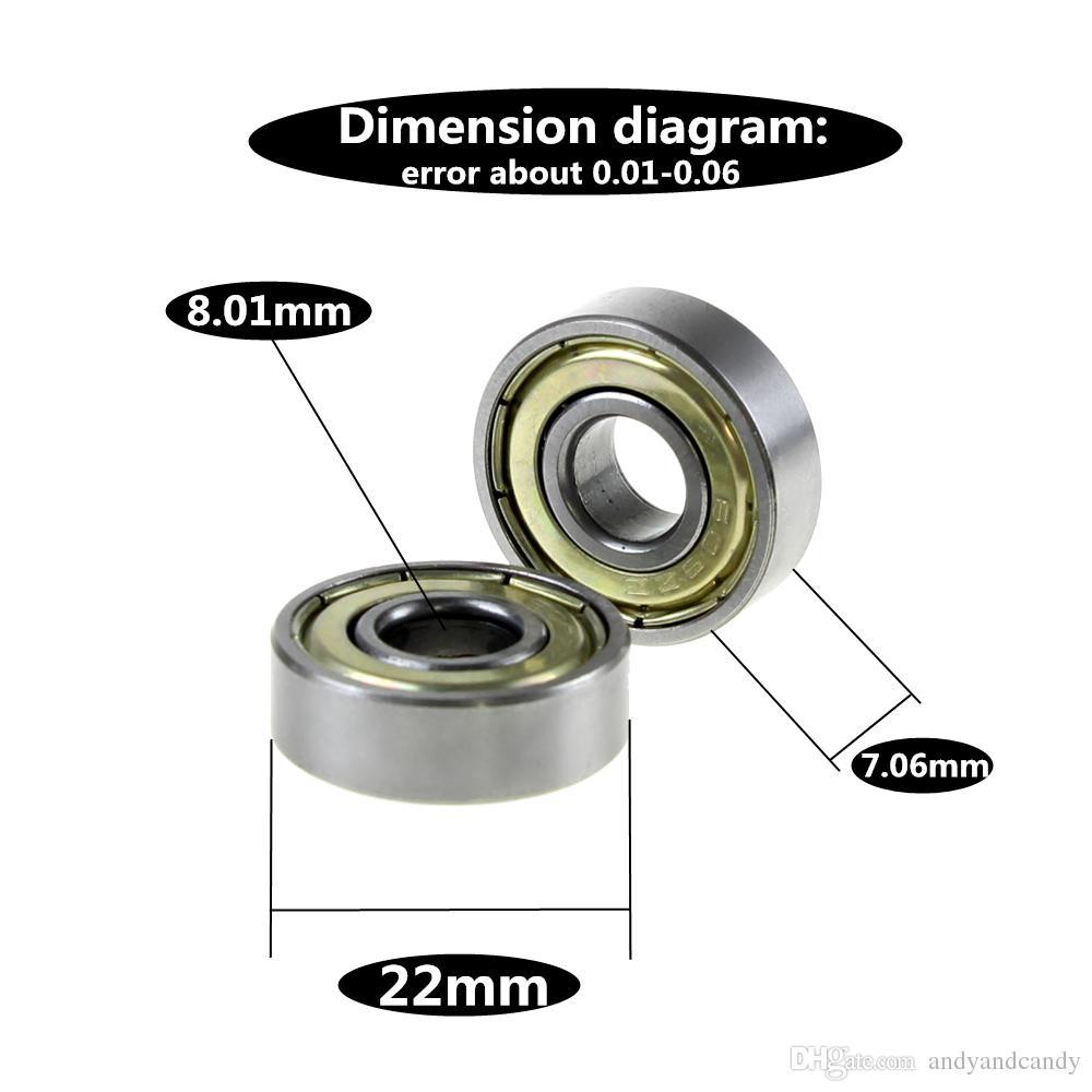 مزدوجة محمية مصغرة عالية الكربون الصلب صف واحد 608ZZ ABEC-5 الكرة الأخدود العميق 8 * 22 * 7 8x22x7 مم 608 ZZ
