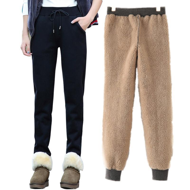 Winter Women Fleece Spodnie Dresy damskie Casual Casual Cash Casual Stretch Grube Vet Ciepłe spodnie 2xl Spodnie sportowe dla kobiet