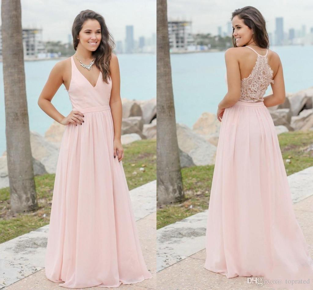 Großhandel 11 Rosa Neue Designer Günstige Land Brautjungfernkleider V  Ausschnitt Spitze Chiffon Formale Trauzeugin Kleider Hochzeit Party Kleider