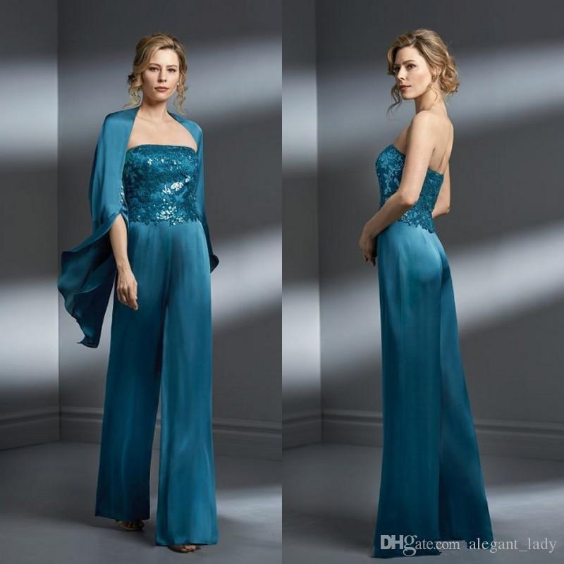 Teal Blue Мать невесты дымовых костюмов шифон аппликация без бретелек плюс размер мать невесты платье формальное платье для матерей свадьба