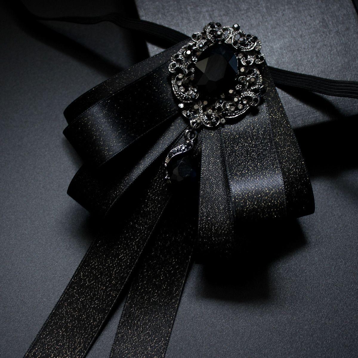 Fashion Original Design Trend Boutique Nero Abbigliamento Accessori Abito da sposa in seta Abito da uomo fatto a mano Coreano Wedding Bow Tie