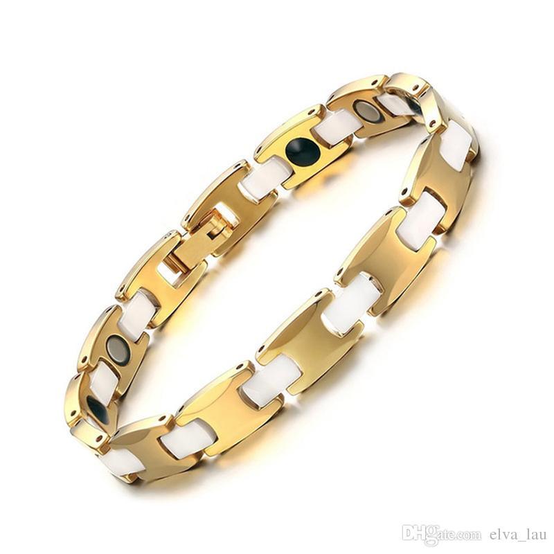 "8MM Tungsten & Ceramic Bracelet for Men With Magnet Germanium Health Care Bracelets For Women 7.6"" Gold Color"