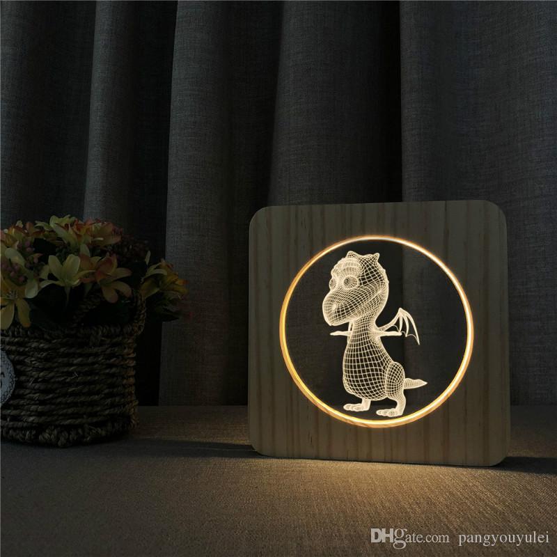 USB Light Wood Carving Motif en bois clair 3D Dinosaur Power LED Veilleuse en bois, LED Table Bureau Accueil Chambre lumière Décoration
